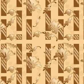Honey and Brown Tones Floral Stripe Small