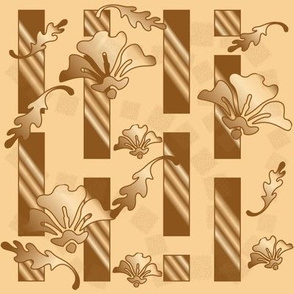Honey and Brown Tones Floral Stripe Large