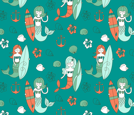 Mermaid Surf Co fabric by lamai on Spoonflower - custom fabric