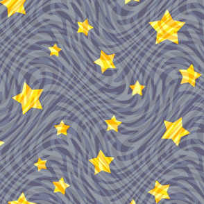 stars in swirls - grey