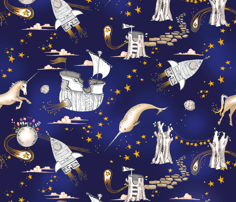 The enchanted universe in ink fabric nouveau bohemian for Universe fabric