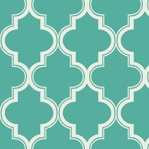 Outline Quatrefoil in Teal