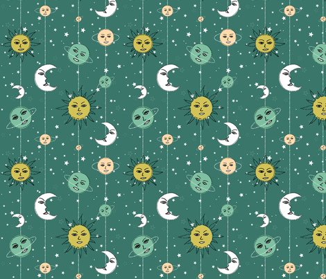 Space garland fabric by axelle_design on Spoonflower - custom fabric