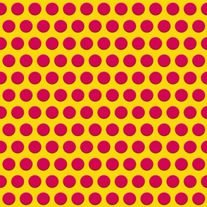 Hot Pink Dots on Yellow