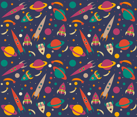 Rocket into space fabric tasha goddard designs spoonflower for Rocket fabric