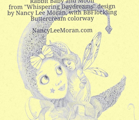 Blue on Buttercream Toile hand-drawn fairy tales