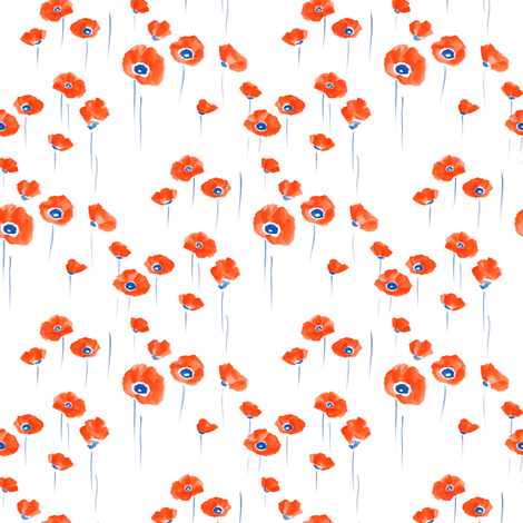 Poppies on White fabric by havemorecake on Spoonflower - custom fabric