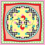 Swirls in squares- multicolor