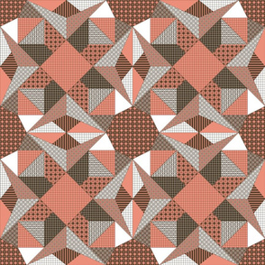 Glowing Embers and Ash Quilt - Shrimp Pink, Soy Brown and White (# W3)