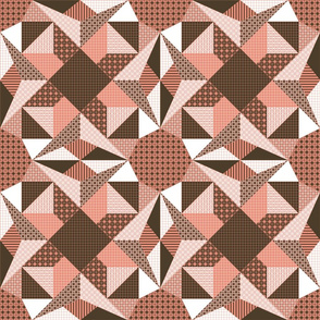 Campfire Sparks in the Velvet Night Quilt - Shrimp Pink, Brown and White (# W4)
