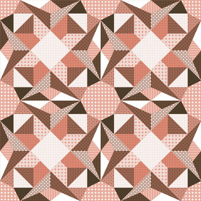 Campfire Sparks and Glinting Starlight Quilt - Shrimp Pink, Brown and White (#W 5)