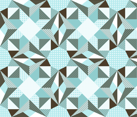 Starlight on Frost - Pale Blue, Brown and White (# C5) fabric by rhondadesigns on Spoonflower - custom fabric