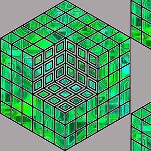 geometric cube - green