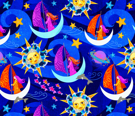 Cosmic voyage fabric shellypenko spoonflower for Cosmic print fabric