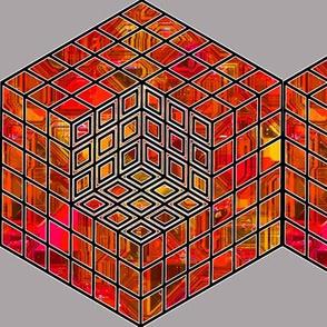 geometric cube - red2