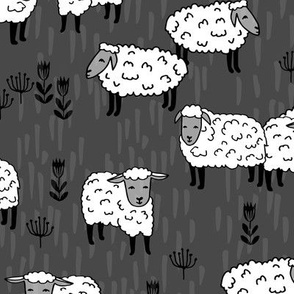 Field of Sheep - Charcoal/White by Andrea Lauren