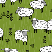 Field of Sheep - Moss Green by Andrea Lauren