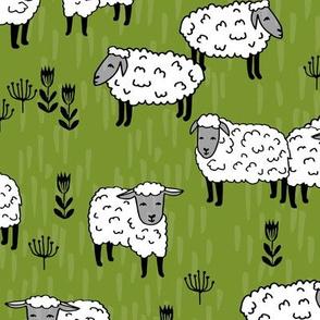 Field of Sheep - Moss Green by Andrea Lauren
