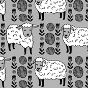 Sheep - Slate Gray/Black/White by Andrea Lauren