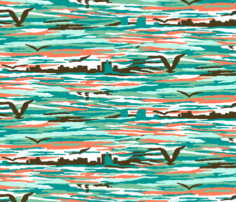 Flight of the Seagull fabric by thepinkpineapple on Spoonflower - custom fabric