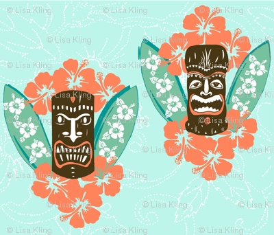 retro Surf Boards, Tiki and Hibiscus