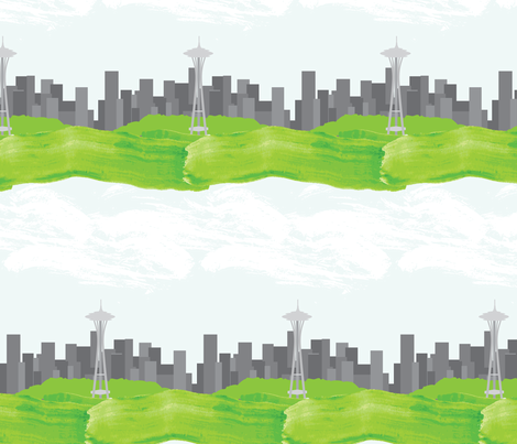 Seattle Skyline fabric by robyriker on Spoonflower - custom fabric