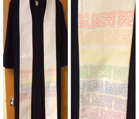 white stoles: mountains, rainbow, cross