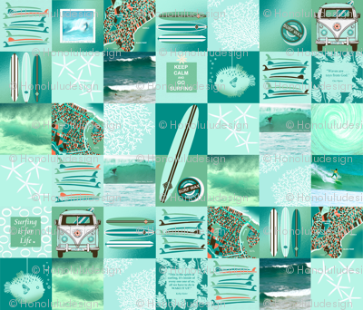 The Best Surf Themed Quilt Ever FAT QUARTER