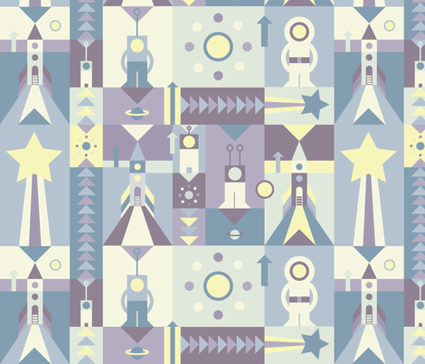 SPACE SQUARES PURPLE fabric by rikkes_bix on Spoonflower - custom fabric