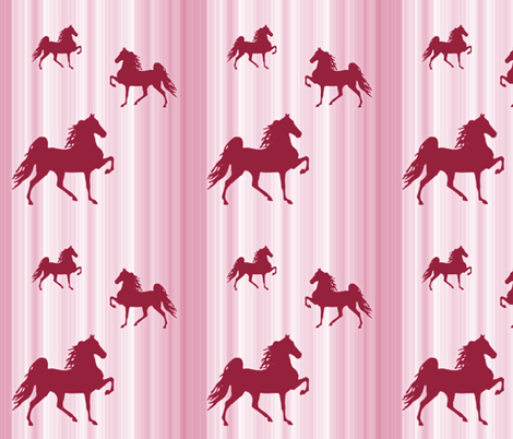 Horses-pink_stripe fabric by mammajamma on Spoonflower - custom fabric