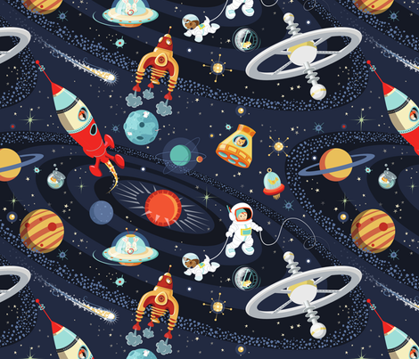 lets all go on a cosmic adventure! fabric by daniellehanson on Spoonflower - custom fabric