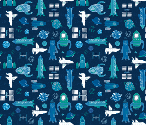 spacevoyage-150 fabric by rachael_grainger on Spoonflower - custom fabric