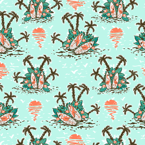 Flamingo surfers fabric by hpdesigns on Spoonflower - custom fabric