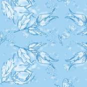 Light blue roses and butterflies