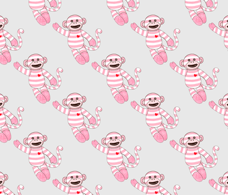 Baby pink monkey fabric designed by debby spoonflower for Baby monkey fabric prints