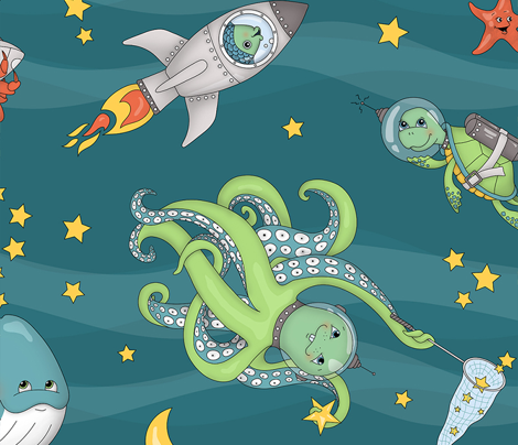 Sea Creatures' Cosmic Voyage :: Galaxy