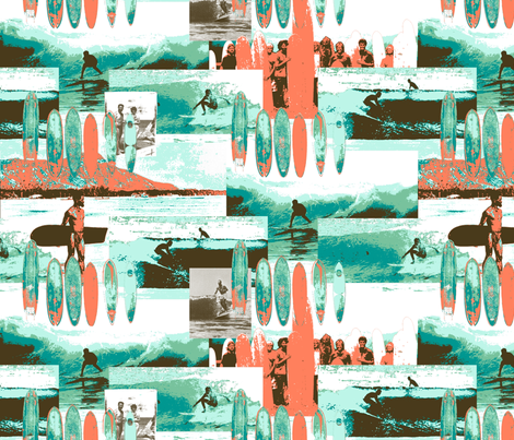Surfing Old School fabric by bloomingwyldeiris on Spoonflower - custom fabric