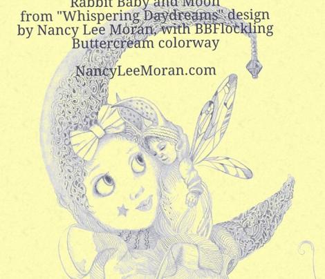 Miniature Blue on Buttercream Toile hand-drawn fairy tales