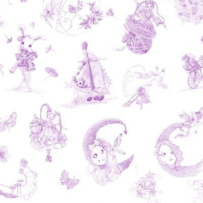 Miniature Lavender on White Toile hand-drawn fairy tales