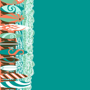 Boardwalk Border Design on Deep Water Teal.