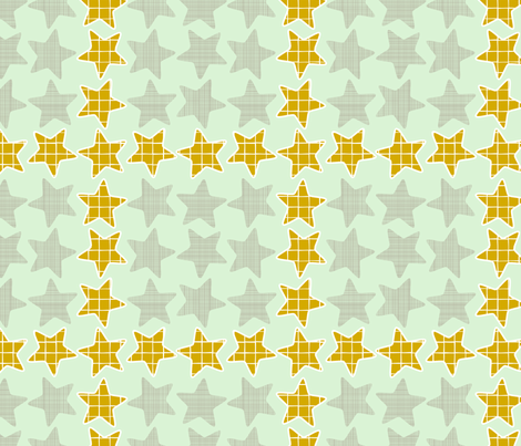 Mint Gold Checker Stars fabric by mrshervi on Spoonflower - custom fabric