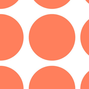 Orange Polka Dots, Giant, on White by Su_G