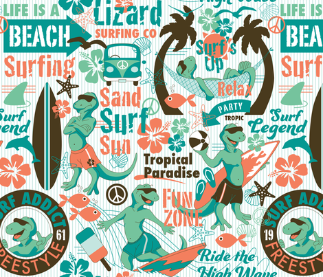 Lizard Surfing Co fabric by mariafaithgarcia on Spoonflower - custom fabric