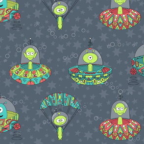Cosmic Aztec Aliens Fabric8