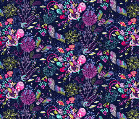 Le Jardin Cosmique - main Design fabric by irrimiri on Spoonflower - custom fabric