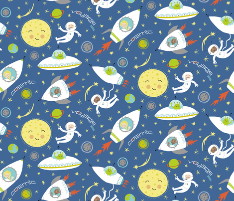 Cosmic voyage 3000 fabric pattyryboltdesigns spoonflower for Cosmic print fabric