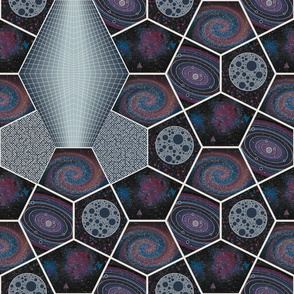 Cosmic Voyage Pentagon Cheater Quilt