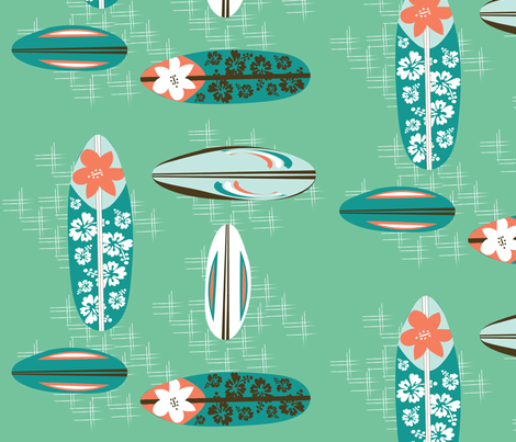 Vintage Hawaiian Surfboards fabric by vanillabeandesigns on Spoonflower - custom fabric