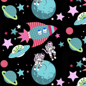 Cosmic Cats at  Planet Polkadot