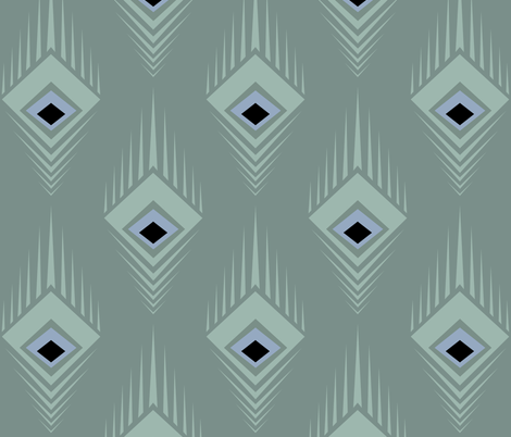 Teal Deco Peacock fabric by nolina on Spoonflower - custom fabric
